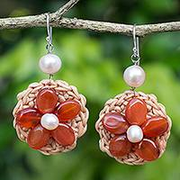 Carnelian and cultured pearl flower earrings, 'Blossoming Rhyme' - Hand Crocheted Flower Earrings with Carnelians and Pearls