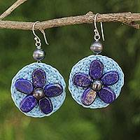 Lapis lazuli flower earrings, 'Blossoming Rhyme' - Hand Made Lapis Lazuli and Gray Pearl Dangle Earrings