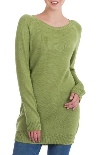 Alpaca blend sweater, 'Highland Forest Dream' - Handmade Alpaca Cool Green Pullover Sweater