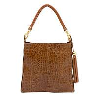 Leather shoulder bag, 'Caramel Elegance' - Brazilian Handcrafted Brown Leather Shoulder Bag