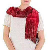 Bamboo chenille and cotton scarf, 'Scarlet Dreamer' - Bamboo chenille and cotton scarf