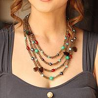 Cultured pearl and agate beaded necklace, 'Be Whimsical' - Beaded Multi-Gemstone Necklace from Thailand