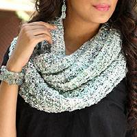 Tweed infinity scarf, 'Aqua Shadows' - Loosely Knitted Aqua Tweed Infinity Scarf from India