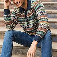 Men's 100% alpaca polo sweater, 'Pisac Casual' - Men's Knitted Andean Alpaca Polo Sweater with Navy Trim