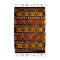 Zapotec wool rug, 'Phases of the Sun' (6.5x10) - Orange and Yellow Handwoven Zapotec Wool Rug 6.5 x 10 Ft