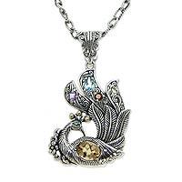 Citrine and blue topaz pendant necklace,