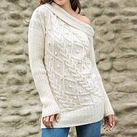 100% alpaca sweater, 'Diamond Dreams' - Hand Knitted Off the Shoulder Alpaca Sweater from Peru