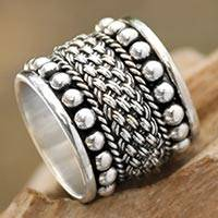 Sterling silver band ring, 'Moonlight Rivers' - Balinese Wide Sterling Silver Band Ring