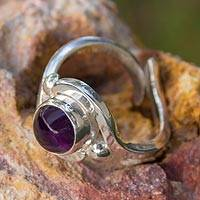 Amethyst cocktail ring, 'Flow' - Artisan Crafted Amethyst and Taxco Silver 950 Cocktail Ring