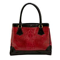 Leather shoulder bag, 'Vermilion Crocodile' - Red and Black Leather Shoulder Bag Classic Style from Brazil