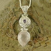Rose quartz and amethyst pendant necklace, 'Love Potion' - Rose Quartz and Amethyst Pendant Necklace
