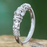 Sterling silver band ring, 'Vintage Java' - Sterling Silver Ring Bali Artisan Jewelry