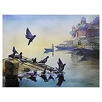 Giclée print on canvas, 'Banaras Ghat II' by Amit Bhar - India Collectible Color Archival Giclée Print on Canvas