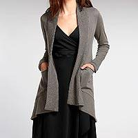 Organic cotton cardigan, 'Zen Ash' - 100% Organic Cotton Ash Grey Cardigan with Hand-Knit Collar