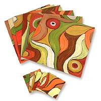 Placemats and coasters, 'Dancing Leaves' (set for 6) - Hand Made Placemats and Coasters (Set for 6)