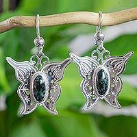 Jade dangle earrings, 'Green Butterfly' - Sterling Silver Butterfly Earrings with Green Jade