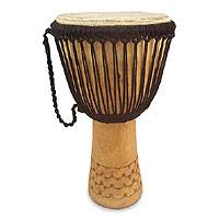 Wood djembe drum, 'Bi Nnka Bi' - Wood djembe drum