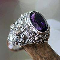 Men's amethyst ring, 'Beloved Barong' - Men's Amethyst and Sterling Silver Ring