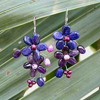 Amethyst and lapis flower earrings,