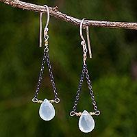Blue chalcedony dangle earrings,