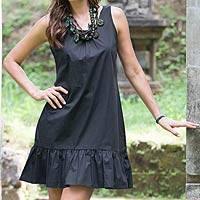 Cotton shift dress, 'Black Gardenia' - Sleeveless Black Cotton Dress from Bali