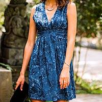 Batik dress, 'Blue Ocean Dream' - Short Sleeveless Blue Dress in Hand Stamped Batik