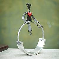 Steel statuette, 'Harlequin's Romantic Balance' - Circus Act with Heart Steel Sculpture Signed by Artist