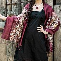 Silk batik shawl, 'Fireworks on Burgundy' - Batik Silk Shawl