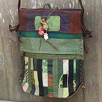 Leather accented hemp blend shoulder bag, 'Green Happiness' - Handmade Green Patchwork Shoulder Bag with Leather Trim
