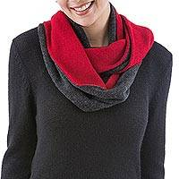 100% alpaca reversible infinity scarf, 'Fire and Mist' - 100% Alpaca Red and Grey Reversible Knit Infinity Scarf