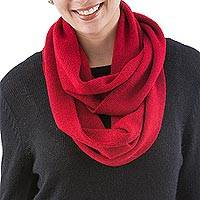 100% alpaca infinity scarf, 'Nazca Sun' - Infinity Scarf in Red Knitted 100% Natural Alpaca from Peru