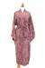 Cotton batik robe, 'Earth Dancer' - Handmade 100% Cotton Robe in Red Pink Tones from Indonesia (image 2c) thumbail