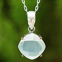 Blue chalcedony pendant necklace,