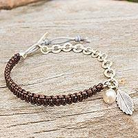 Cultured pearl and leather charm bracelet,