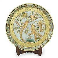 Marble plate, 'Summer Songbirds' - Marble Decorative Plate with Golden Bird Motifs
