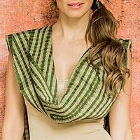 Cotton scarf, 'Solola Valleys' - Artisan Hand Crafted Green Cotton Scarf