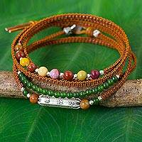 Silver accent jasper and leather wrap bracelet,