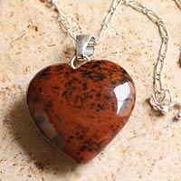 Mahogany obsidian heart necklace,