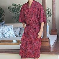 Men's cotton robe, 'Blaze' - Red and Charcoal Cotton Robe for Men