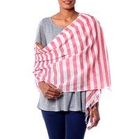 Cotton shawl, 'Casual Red' - Casual Red and White Striped Cotton Shawl from India