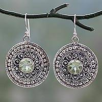 Prasiolite dangle earrings,