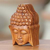 Wood puzzle box, 'Solemn Buddha' - Wood puzzle box