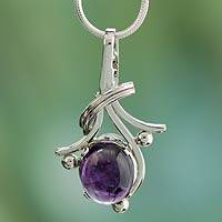 Amethyst pendant necklace, 'Forever Yours' (India)