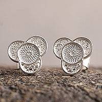 Silver floral earrings, 'Andean Shamrock' - Floral Fine Silver Stud Earrings
