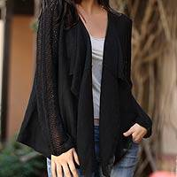 100% alpaca cardigan sweater, 'Black Lace' - Black 100% Alpaca Open Cardigan Sweater
