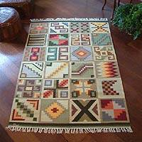 Wool area rug, 'Calendar Codes' (4x6) - Inca Calendar Themed Wool Area Rug (4x6)