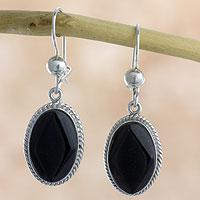 Black jade dangle earrings,