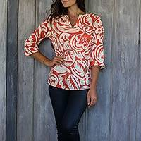 Cotton tunic, 'Alexia in Persimmon' - Handcrafted Orange and Cream Tunic from Bali