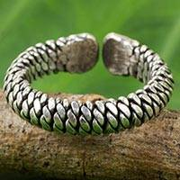 Silver wrap ring, 'Jungle Rope' - Artisan Crafted Thai Silver Wrap Ring with Rope Motif