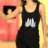 Jersey halter top, 'Divine Black Lotus' - Indonesian Yoga Tank Top